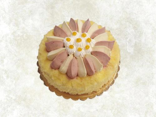 GIRASOLE FRAGOLA E LIMONE - Base di pan di spagna farcito con uno strato di panna-fragola ed uno strato panna-limone