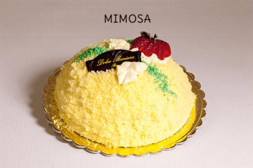 MIMOSA - Base di pan di spagna farcito con panna-zabaione e gocce di cioccolato, rivestita con il medesimo pan di spagna