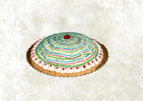 ZUPPA INGLESE - Base di pan di spagna farcito con uno strato di crema pasticcera ed uno di crema al cioccolato, arricchito con gocce al cioccolato e ricoperta di panne con decorazioni varie