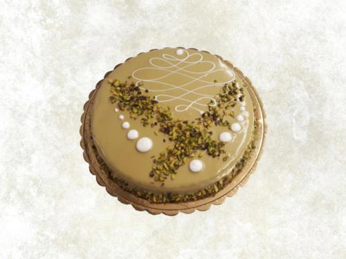 TORTA DI GRANO SARACENO (no glutine), - farcita con una crema di miele e rivestita con ganache al pistacchio